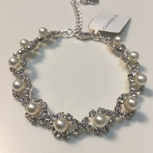 Charter Club CZ and pearl bling fancy bracelet NWT